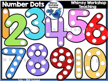 Number Dots Clip Art - Whimsy Workshop Teaching