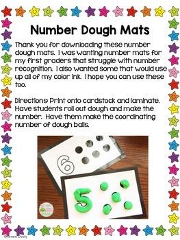 Number Dough Mats 1-10 Freebie