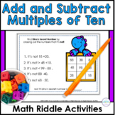 Adding and Subtracting Tens Math Riddle Task Cards