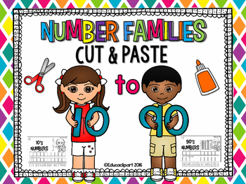 Number Families 10's to 90's - Cut and paste