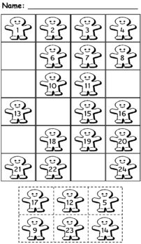 Number Fill-In-The-Gap Christmas Worksheets