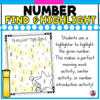Number Find & Highlight (Recognizing Numbers 0-20) Highlighter Fun!