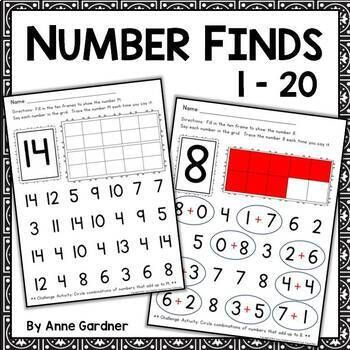 Number Finds for Numbers One through Twenty