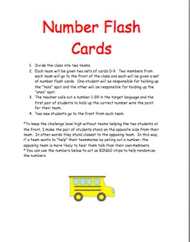 Number Flash Card Game for Language Learning