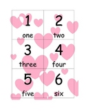 Number Flash Cards (1-100) with words (Valentine's Theme)