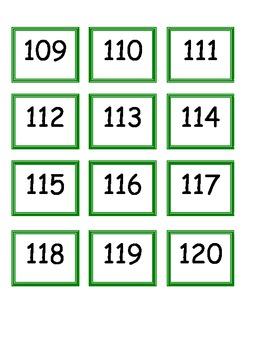 Number Flash Cards 1-120 (4 sets)