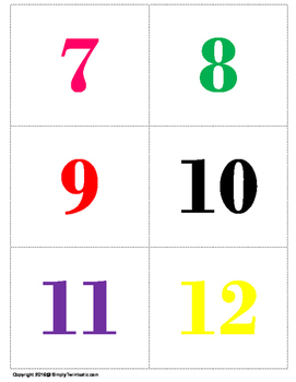 Number Flash Cards 1 - 20