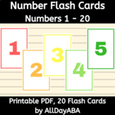 Number Flash Cards - 1 - 20 - by AllDayABA