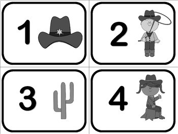 Number Flash Cards 1 to 50 - Cowboy Theme