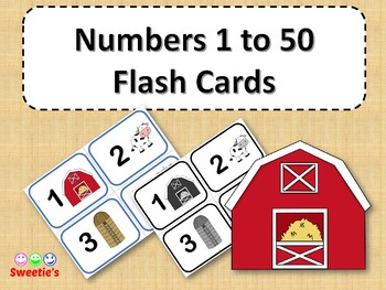 Number Flash Cards 1 to 50 - Farm