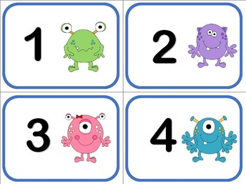 Number Flash Cards 1 to 50 - Monsters