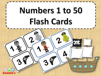 Number Flash Cards 1 to 50 - Pirate Theme