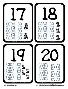 Number Flash Cards - Puppy and Bones - Easy to Make - PreK Kindergarten