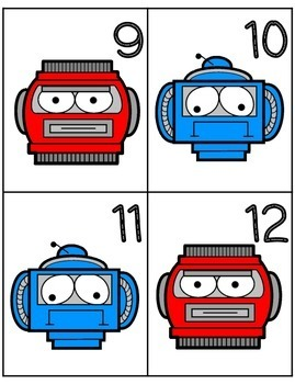 Robot Number Flash Cards