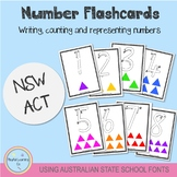 Number Flashcards 1-20 - Using Australian School Fonts (NSW/ACT)
