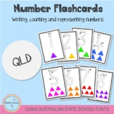 Number Flashcards 1-20 - Using Australian School Fonts (QLD)