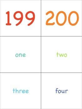 Number Flashcards 1-200 for the Virtual ESL Classroom - Virtual Classroom Props