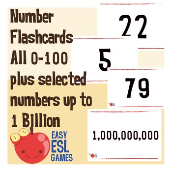 Number Flashcards All 0-100 plus selected numbers up to 1 Billion