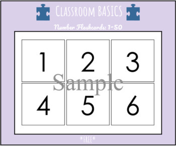 Number Flashcards: Numbers 1 - 50 *FREE*