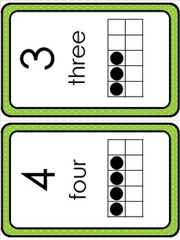 Number Flashcards and Display (Green)