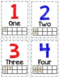 Number Flashcards with Words, Ten Frame, and Color Coded O