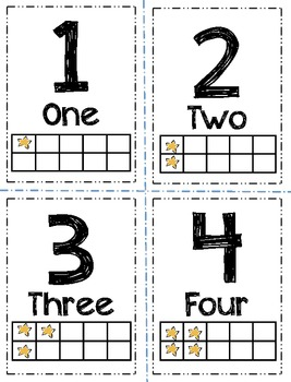 picture relating to Free Printable Number Cards 1-20 known as Range Flashcards with Text, and 10 Body, Star-Themed (1-20)