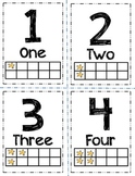 Number Flashcards with Words, and Ten Frame, Star-Themed (1-20)