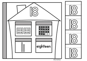 Number Worksheets - Flip Flap Houses - Cut and Paste