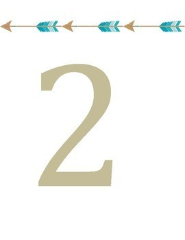 Number Flipchart/ Number Posters for Wall: Gold, Teal Arrows