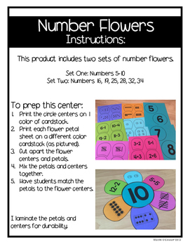Number Flowers Differentiated Math Center and Craftivity