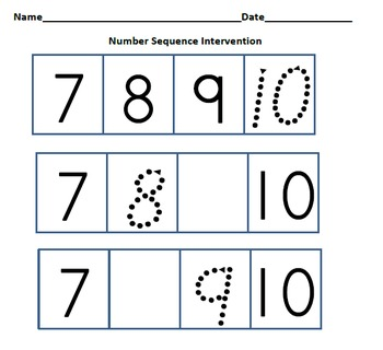 Number Fluency Intervention (RTI) and Data Collection Charts