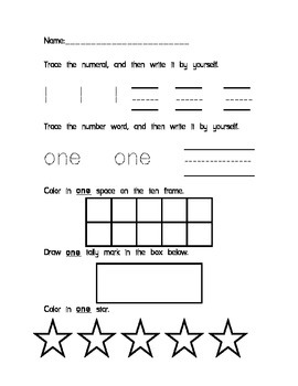Number Fluency Packet (1-10)