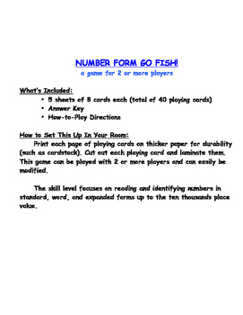Number Form Go Fish!