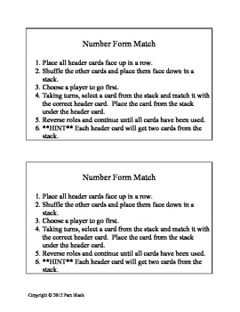 Number Form Matching Activity