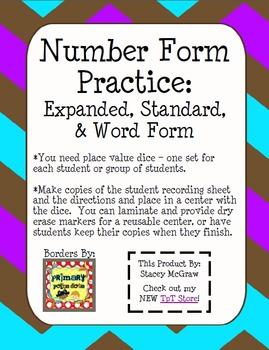 Number Form Practice: Expanded, Standard, Number Word