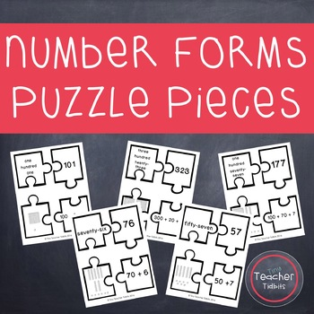 Number Forms Puzzle Pieces {Two and Three Digit Numbers}