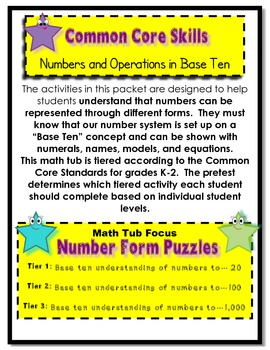 Number Form Puzzles Tiered Math Tub