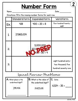Number Form (Expanded Form, Word Form, & Standard Form) Worksheets