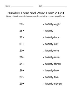 Number Form and Word Form Matching 0-99 (11 pages)