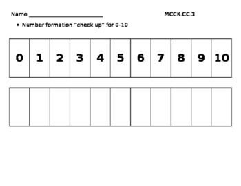 Number Formation 0-10 Assessment