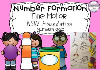Number Formation 0-20 Fine Motor Printables - NSW Foundation Font