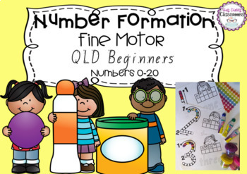 Number Formation 0-20 Fine Motor Printables - QLD Beginners Font