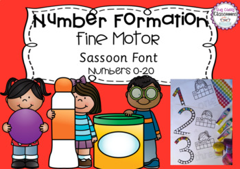 Number Formation 0-20 Fine Motor Printables - Sassoon Font