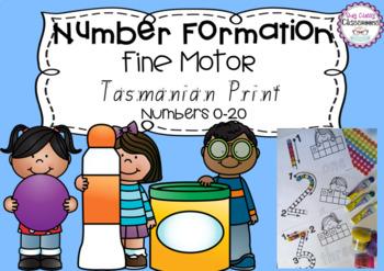 Number Formation 0-20 Fine Motor Printables - Tasmanian Print Font