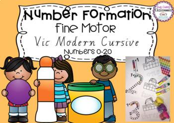Number Formation 0-20 Fine Motor Printables - Victorian Modern Cursive Font