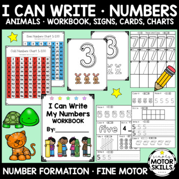 Number Formation Book - Animal Theme - 3 Activities Per Number - #1-10