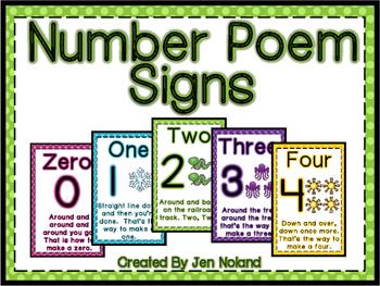 Number Formation Poem Signs