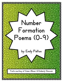 Number Formation Poems (0-9)