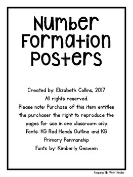 Number Formation Posters with Poems