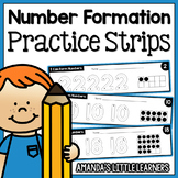 Number Formation Practice Strips - No Prep